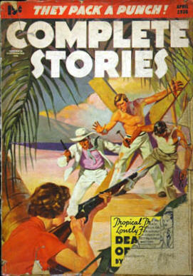 Cover for Complete Stories, April 1936 by R.G. Harris His wife was the model who posed for the woman on the cover