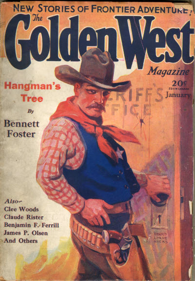 Bennett Foster's first cover credit in the January 1931 issue of Golden West magazine