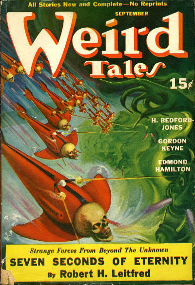 Weird Tales, September 1940 cover featuring Robert Leitfred's story  Cover image courtesy the Fictionmags Index