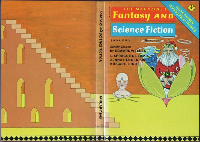 Fantasy & Science Fiction, January 1975, cover by Mazey and Schell